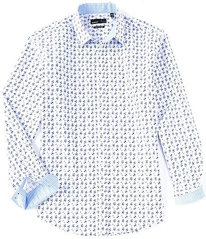 Quieti Floral Print Blue Performance Stretch Long-Sleeve Woven Shirt