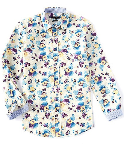 Quieti Floral Print Performance Stretch Long-Sleeve Woven Shirt