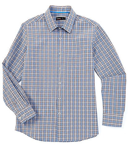 Quieti Plaid Blue Performance Stretch Long-Sleeve Woven Shirt
