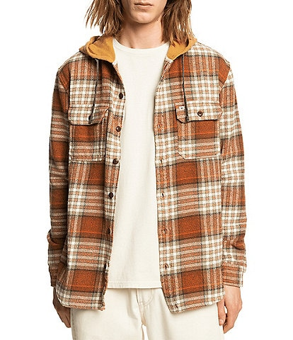 Quiksilver Long-Sleeve Halidon Hooded Plaid Button-Front Twill Shirt