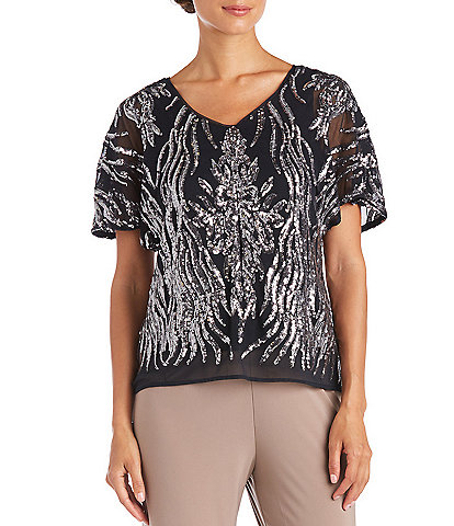 R & M Richards 2-Tone Embroidered Sequin Butterfly Sleeve Top