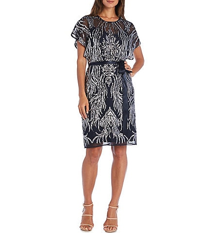 R & M Richards 2-Tone Flutter Sleeve Tie Waist Sequin Dress