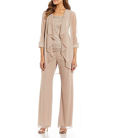 9fdd412351a R   M Richards 3-Piece Glitter Lace Flyaway Pant Set