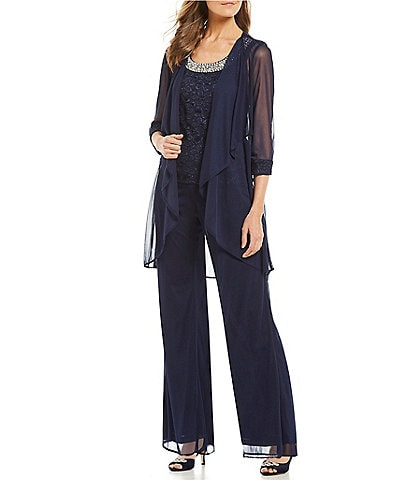 R & M Richards 3-Piece Glitter Lace Flyaway Pant Set