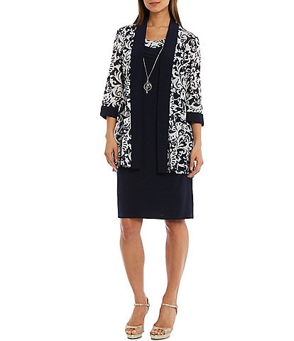 R & M Richards 3/4 Sleeve Paisley Print 2-Piece Jacket Dress