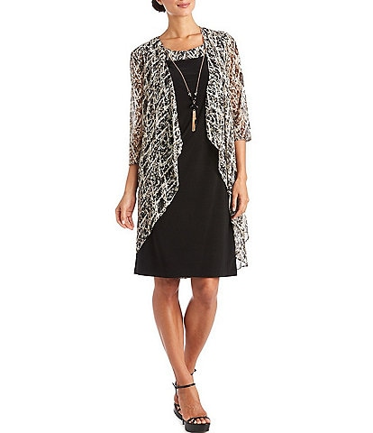 R & M Richards 3/4 Sleeve Printed Mesh 2-Piece Jacket Dress