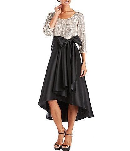 R & M Richards 3/4 Sleeve Sequin Stretch Pleated Hi-Low Scoop Neck Dress