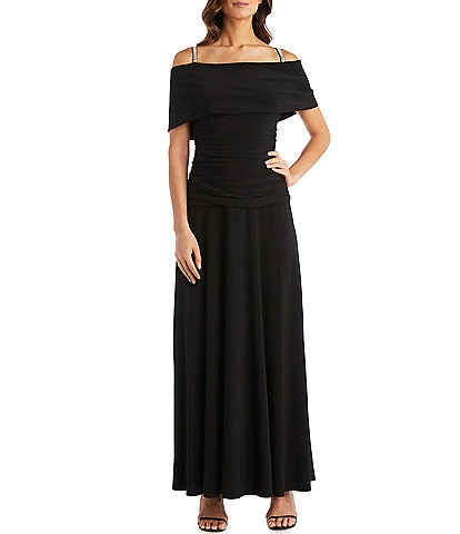 R & M Richards Banded Off-the-Shoulder Ruched Bodice Dress