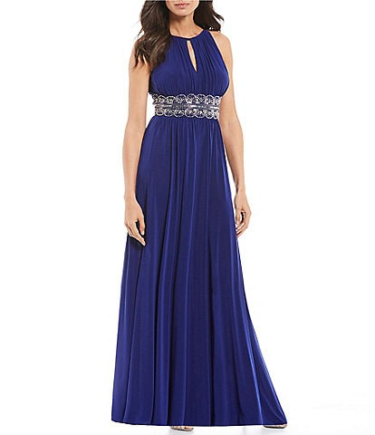 R & M Richards Beaded Waist Keyhole Neck A-Line Gown