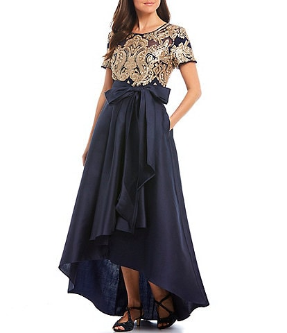 R & M Richards Bow Waist Embroidered Sequin Lace Hi-Low Ball Gown