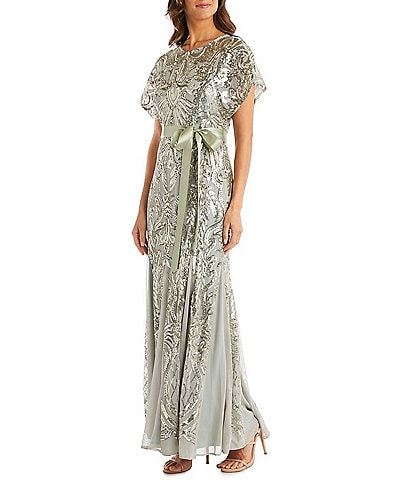 R & M Richards Butterfly Sleeve Beaded Sequin Tie Waist Godet Inset Detail Dress