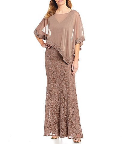 R & M Richards Chiffon Poncho Overlay Lace Gown