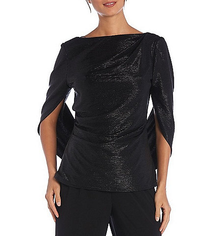 R & M Richards Crinkle Foil Knit Draped Cowl Back Top