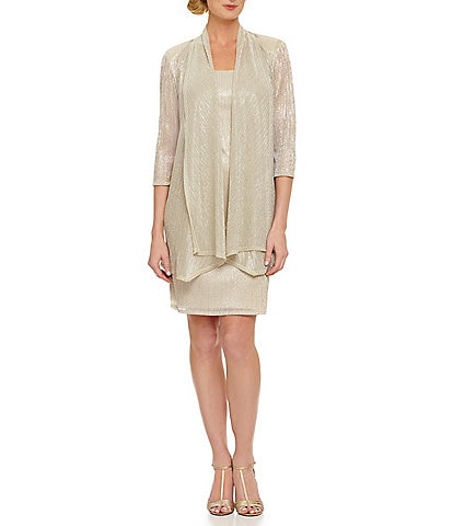 R & M Richards Crinkle Shimmer Knit 2-Piece Jacket Dress