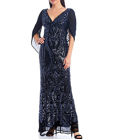 R & M Richards Drape Back Beaded Stretch Mesh Gown