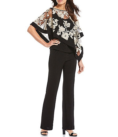 R & M Richards Embroidered Floral 2-Piece Poncho Pant Set