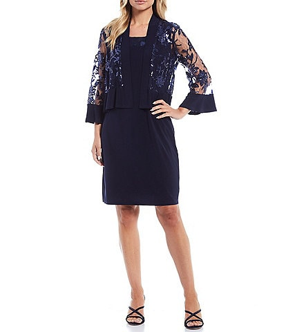 R & M Richards Embroidered Sequin Bell Sleeve 2-Piece Jacket Dress