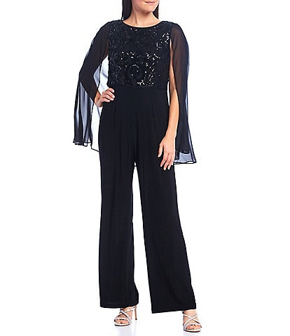 R & M Richards Embroidered Sequin Bodice Chiffon Cape Jumpsuit