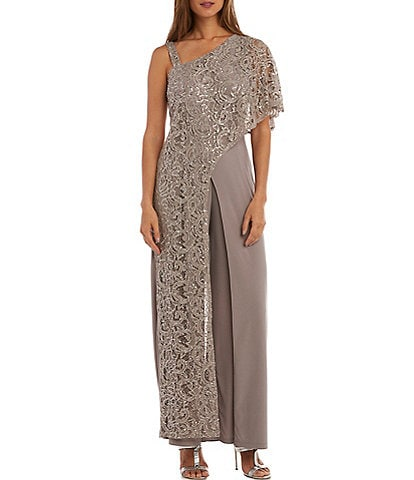 R & M Richards Embroidered Sequin One Shoulder Jumpsuit