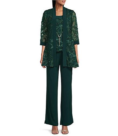 R & M Richards Embroidered Soutache Mesh Lace Mock 3-Piece Pant Set