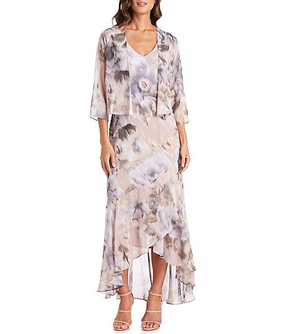 R & M Richards Floral Chiffon 2-Piece Jacket Midi Dress