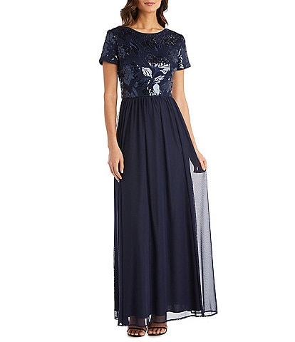 R & M Richards Floral Embroidered Bodice A-Line Gown