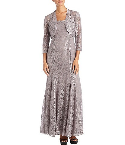 R & M Richards Floral Glitter Lace Jacket Gown