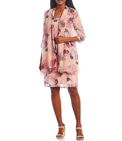 R & M Richards Floral Printed Chiffon 2-Piece Jacket Dress