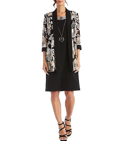 R & M Richards Floral Printed Jersey Knit 2-Piece Jacket Dress