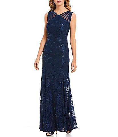 R & M Richards Illusion Shoulder Sleeveless Lace Gown