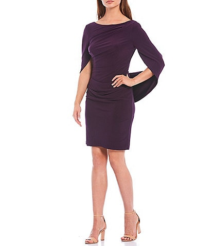 R & M Richards Jersey Knit Draped Back Sheath Dress