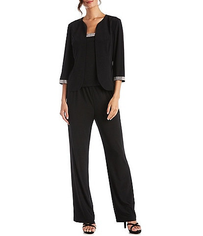 R & M Richards Jersey Knit Rhinestone 3-Piece Pantsuit