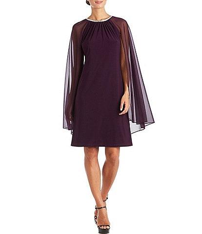R & M Richards Jewel Neck Capelet Chiffon Dress
