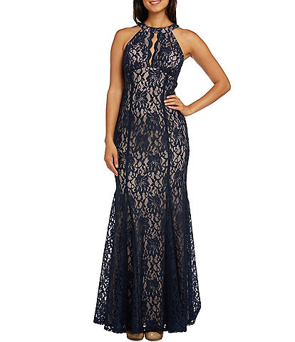R & M Richards Long Glitter Lace Halter Neck Keyhole Front Sleevless Mermaid Dress