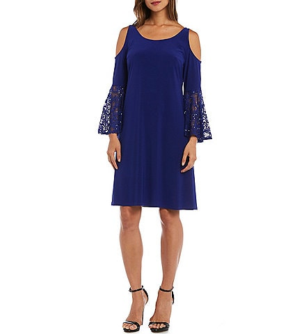 R & M Richards Long Sleeve Cold Shoulder Swing A-Line Dress