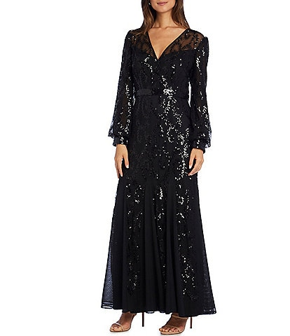 R & M Richards Long Sleeve V Neck Beaded Mesh Dress