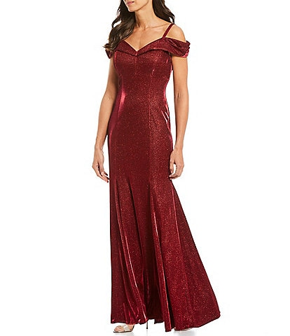 R & M Richards Lurex Shimmer Knit Off-the-Shoulder Godet Gown