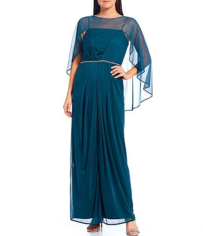 R & M Richards Matte Chiffon Flyaway Cape Long Dress