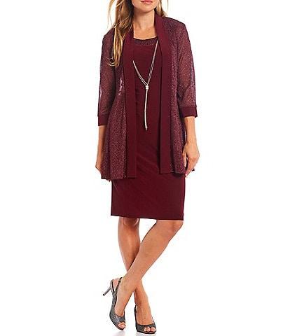R & M Richards Metallic Knit Scoop Neck 3/4 Sleeve 2-Piece Jacket Dress