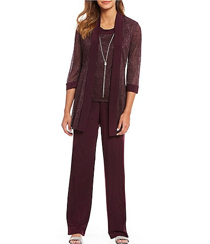 R & M Richards Metallic Ribbed Knit Mock 2-Piece Pant Set
