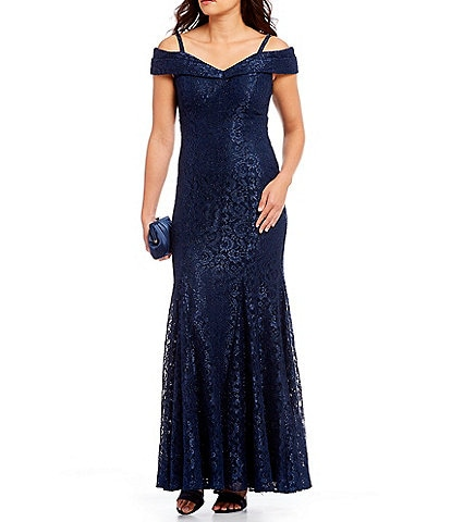 R & M Richards Off-the-Shoulder Sweetheart Lace Gown
