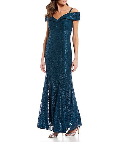 R & M Richards Off-the-Shoulder Sweetheart Neck Lace Gown