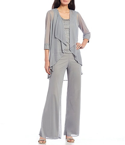 R & M Richards Petite Size Glitter Chiffon Lace Duster 3-Piece Pant Set