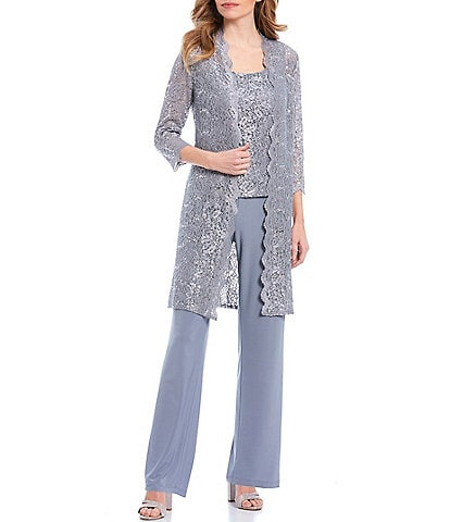 R & M Richards Petite 3-Piece Scalloped Glitter Lace Duster Stretch Pant Set