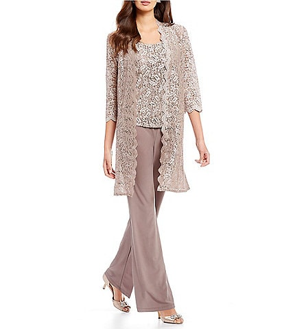 R & M Richards Petite 3-Piece Scalloped Glitter Lace Duster Pant Set