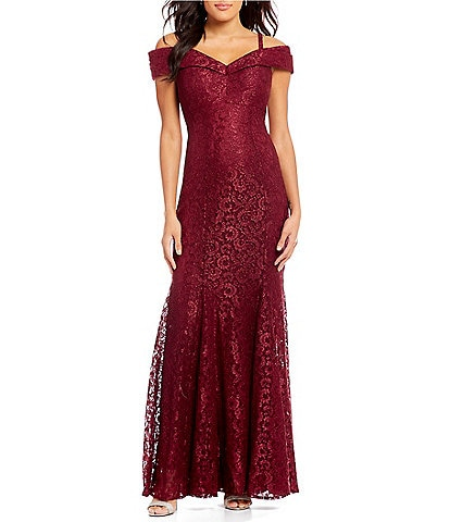 R & M Richards Petite Size Off-the-Shoulder Sweetheart Lace Gown