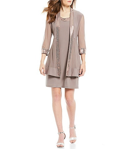 R & M Richards Petite Size 2-Piece Metallic Trim Jacket dress