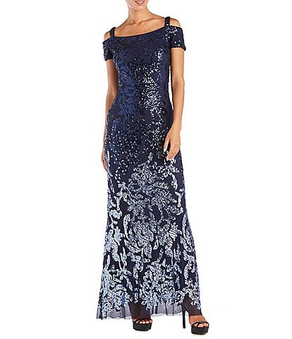 R & M Richards Petite Size Cold Shoulder Beaded Sequin Ombre Mermaid Gown