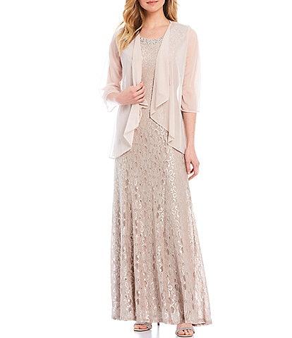 R & M Richards Petite Size Glitter Lace Beaded Neck 2-Piece Jacket Gown