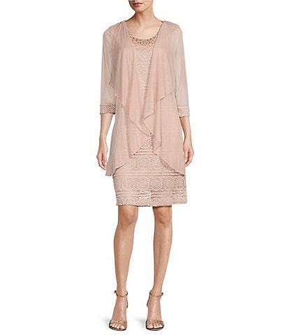 R & M Richards Petite Size Glitter Lace Beaded Neck Flyaway Jacket Dress